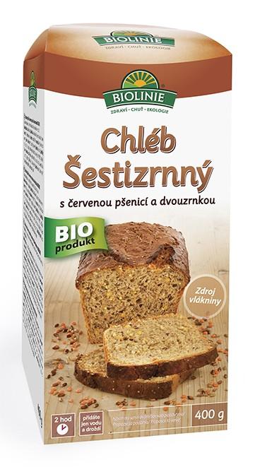 Chléb šestizrnný s červenou pšenicí a dvouzrnkou (směs na pečení