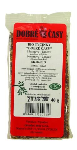 Tyčinky sezam. lněné s agávovým sirupem DOBRÉ ČASY 40g